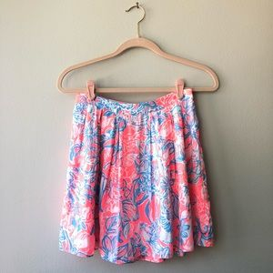 Lilly Pulitzer Neon Pink and Blue Mini Skirt